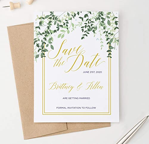 Simple Save the Dates Printed Greenery Wedding Save the Date Cards Olive Branch Save the Date Postcard Elegant Save the Date Printable
