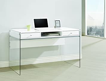 Coaster Home Furnishings Modern Contemporary Two Drawer Writing Office Desk  With Storage Cubby Compartment And Tempered