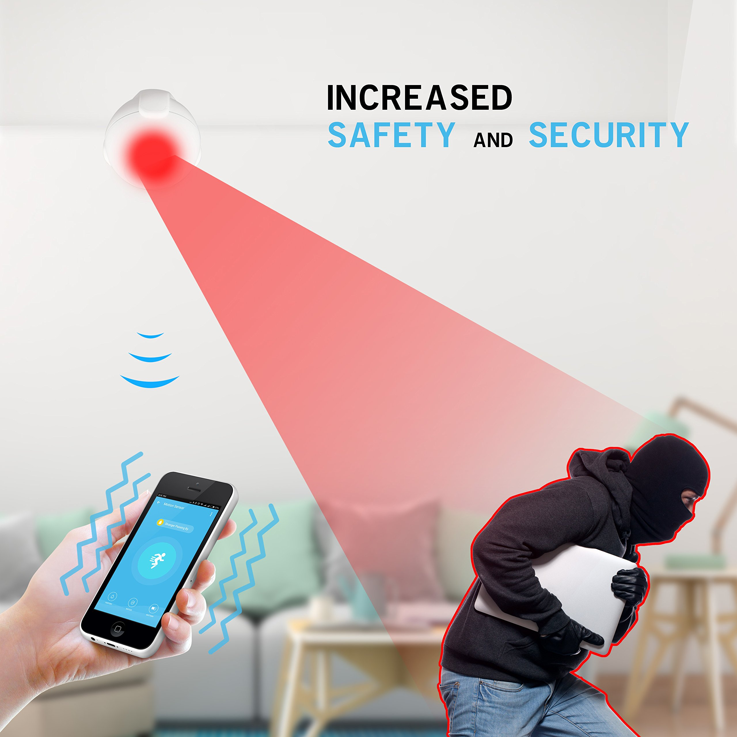 iView S200 WiFi Smart Motion Sensor Indoor Outdoor Adjustable Sensibility DIY Easy Installation Long Lasting Battery by IVIEW (Image #6)