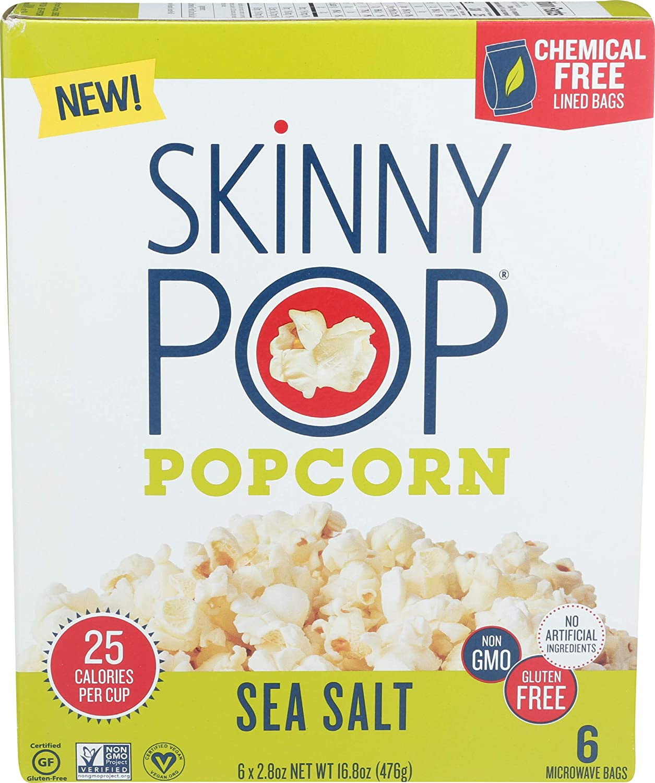 SKINNY POP Sea Salt Microwave Popcorn, 16.8 OZ