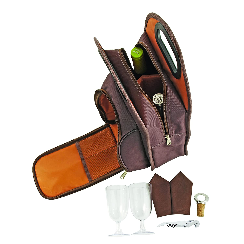 Metro 2 Bottle Wine Tote Bag Picnic Set - Truetap Corkscrew, Bottle Stopper, Acrylic Wine Glasses, Napkins Truefabrications 2427