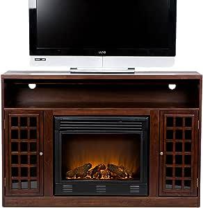 "Southern Enterprises Narita Media Electric Fireplace 48"" - Remote Control Radiant Heater - Glazed Pine Wood Finish"