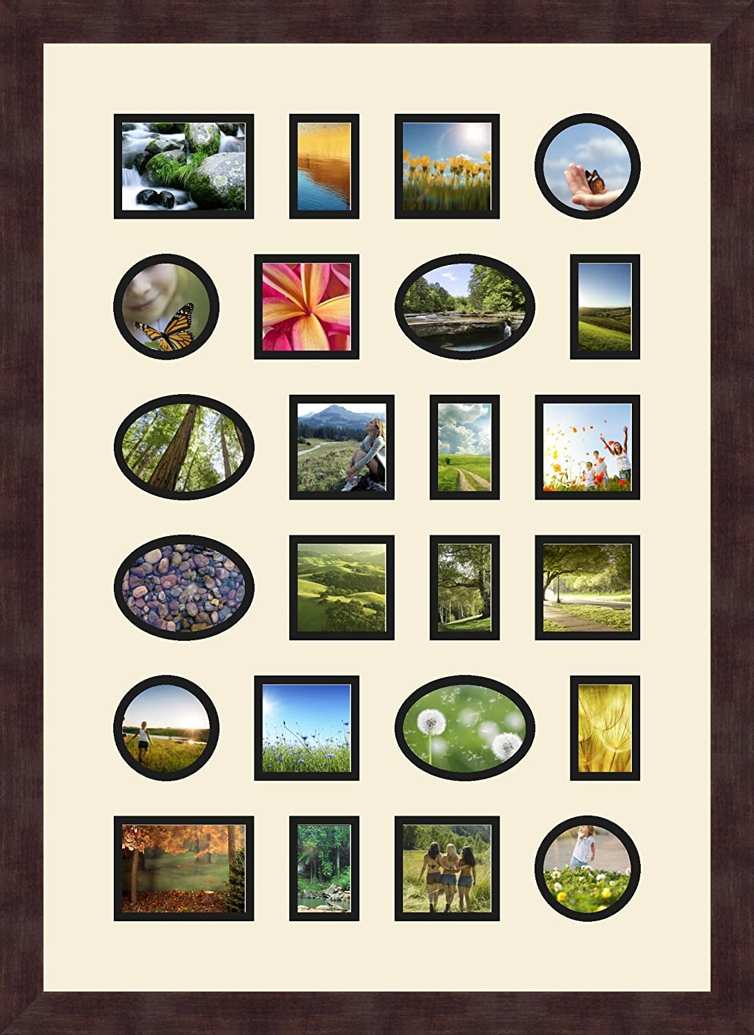 Art to Frames Double-Multimat-392-868//89-FRBW26061 Collage Frame Photo Mat Double Mat with 6-3x4 and 12-3x3 and 6-2x3 Openings and Espresso Frame