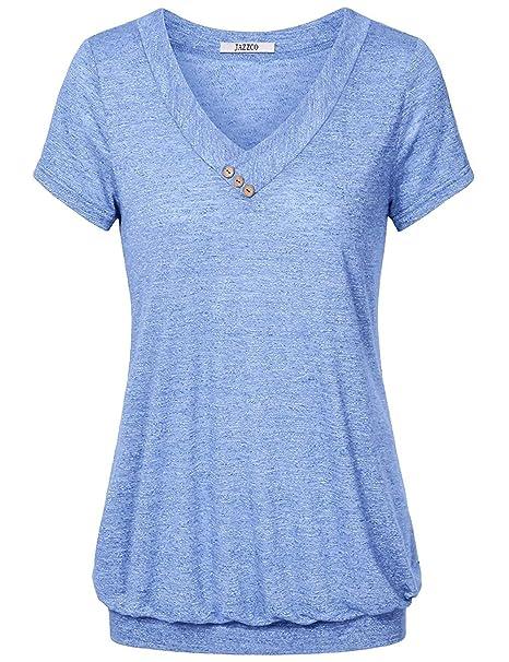 69099ee5135612 Jazzco Women Tunic Tops, Women's V Neck Solid Short Sleeve Banded Hem  T-Shirt