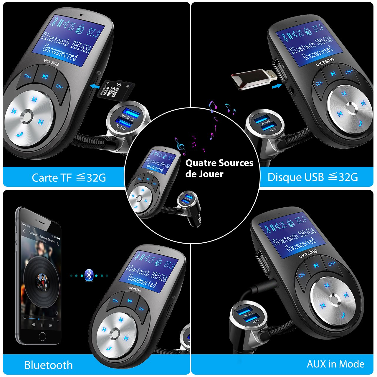 VicTsing FM-Transmitter, Bluetooth, Freisprecheinrichtung, kabellos, Kfz-Ladeger/ä t, USB, Musik-Player, mit Display 1,44 Zoll /(1,44 cm/), Displayschalter, zwei USB-Ports, AUX-Eingang//Ausgang, TF-Kartensteckplatz f/ü r iPhone 7 7 Plus SE, Galaxy S7