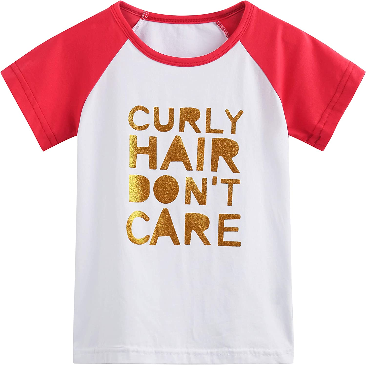 Toddler Baby Girls Boys Raglan Tees for Short Sleeve Cotton T-Shirt Baseball Jesey Culy Hair Don't Care