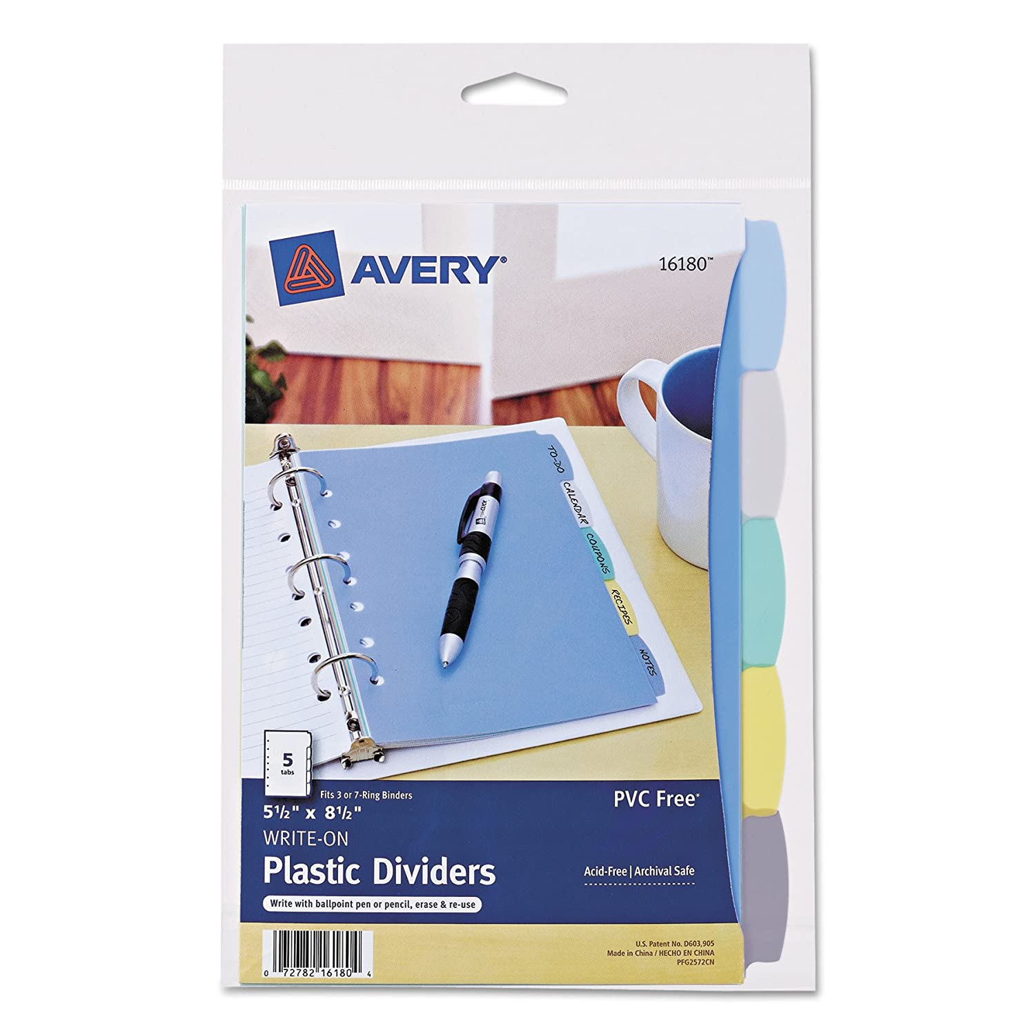 Avery Mini Plastic Durable Write-On Dividers, 5.5 x 8.5 Inches, 5 Tabs, 1 Set (16180)