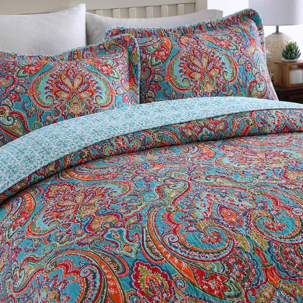NEWLAKE Cotton Bedspread Quilt Sets-Reversible Patchwork Coverlet Set, European Gorgeous Floral Pattern, Queen Size by NEWLAKE (Image #2)