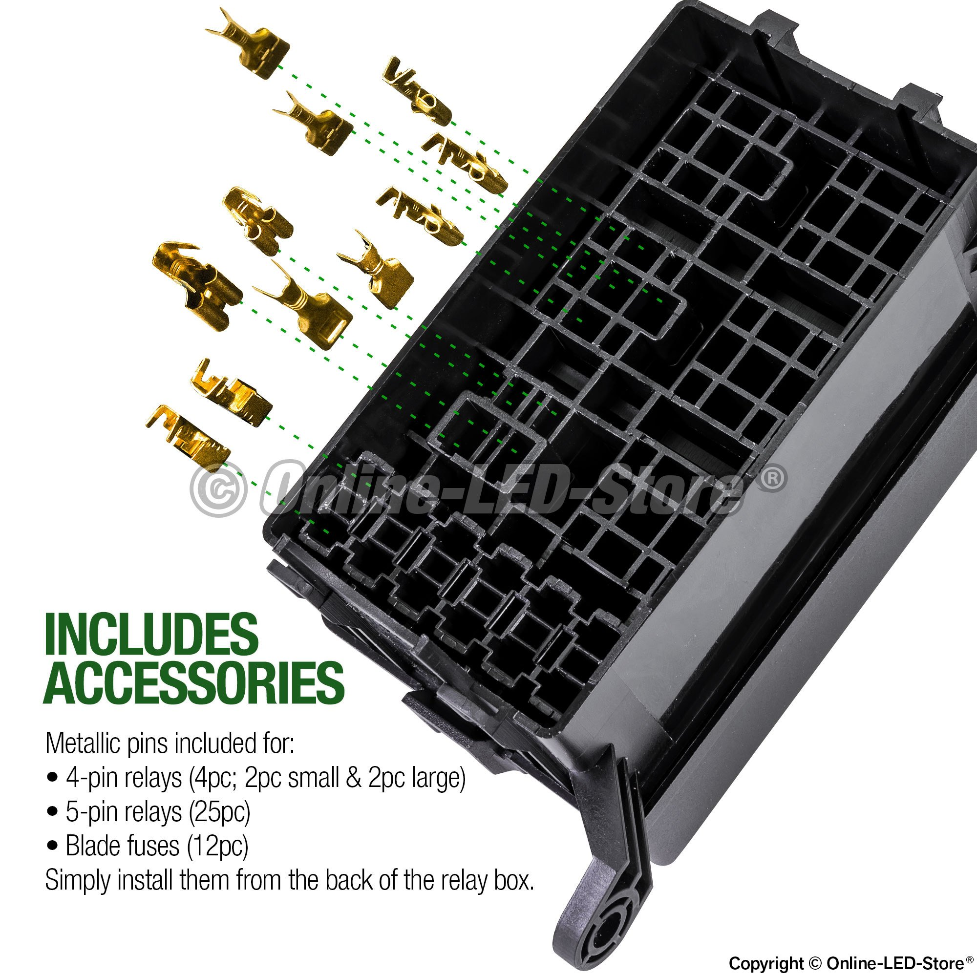 Online Led Store 12 Slot Relay Box 6 Relays Blade Fuses Bosch Fuse Car Vent Mount Style Easy Installation Oem Factory Look For Automotive