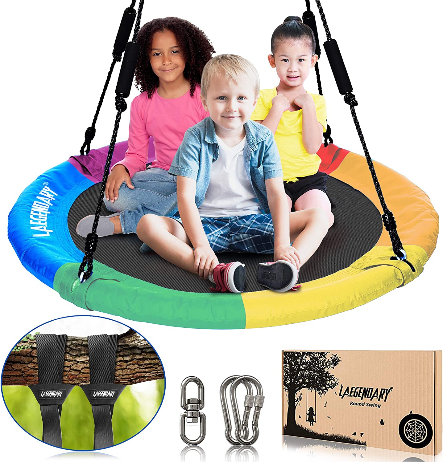 Reliancer 47 Saucer Tree Swing for Backyard Kids w//2 Carabiners 10FT Tree Swing Straps 600lbs Weight Capacity 900D Oxford Weather Resistant Durable Steel Frame Adjustable Ropes to 63inch