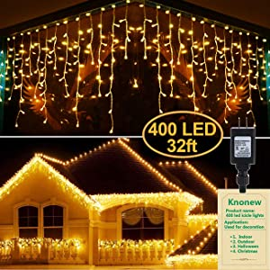 KNONEW LED Icicle Lights, 400 LEDs, 32ft, 8 Modes, Curtain Fairy Light with 75 Drops, Clear Wire LED String Decor for Christmas/Thanksgiving/Easter/Halloween/Party Backdrops Decorations (Warm White)