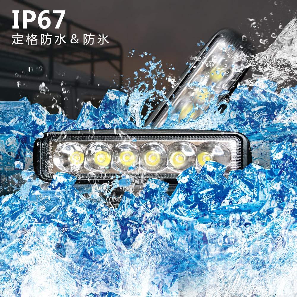 6.3 Inch Led Fog Light Bar 18W Outdoor Led Light Bar 6500K 1530LM Night Driving Lights Off Road Lights Led Flood Light Bar for 4X4 Cabin Boat Ship SUV ATV Deck Mining,1PC(18monthes Warranty)