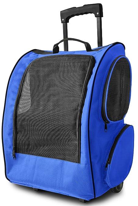 OxGord - Mochila de viaje para gatos, perros y conejos, color azul