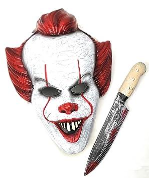 Mut Máscara Payaso IT con Cuchillo Asesino para Disfraz terrorífico Halloween Adulto