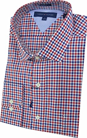 a2ce2dc52 Image Unavailable. Image not available for. Color: Tommy Hilfiger Men's  Classic-Fit Non-Iron Red and Blue Gingham Dress Shirt 17