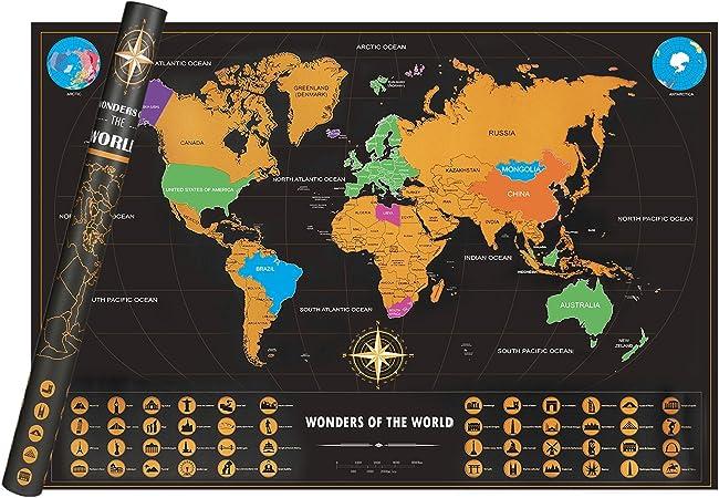 Scratch off Mapa del mundo cndt XXL viaje Mapas personalizado Viajes Tracker Poster arañazos lugar recordar