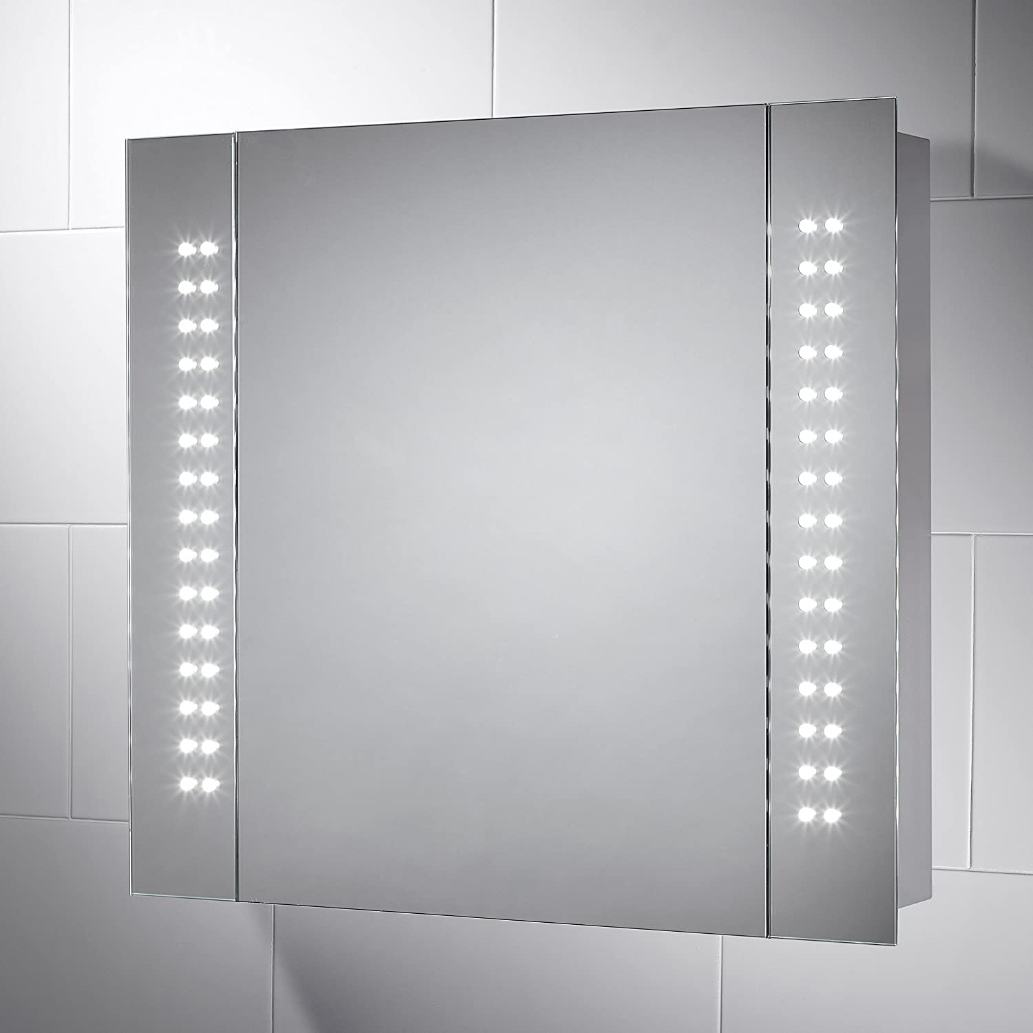 Kinsley LED Illuminated Battery Bathroom Cabinet Mirror With Lights    650mm(W) X 600mm(H): Amazon.co.uk: Kitchen U0026 Home