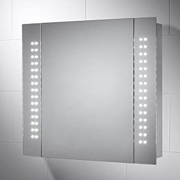Kinsley LED Illuminated Battery Bathroom Cabinet Mirror With Lights 650mmW X 600mm