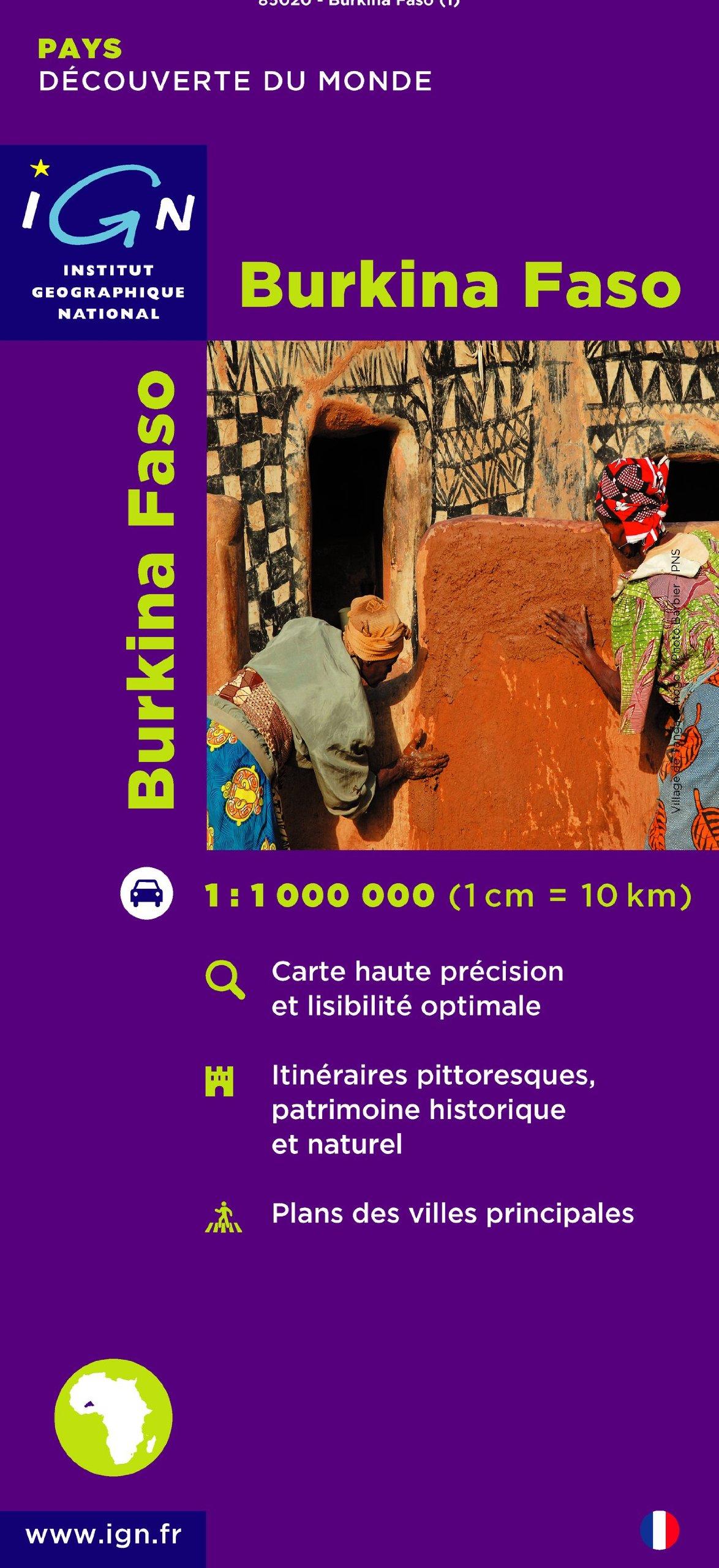 Burkina Faso  1 : 1 000 000: Découverte des pays du monde. Carte haute précision et lisibilité optimale. Itinéraires pittoresques, patrimoine ... villes principales (Pays et Villes de France)