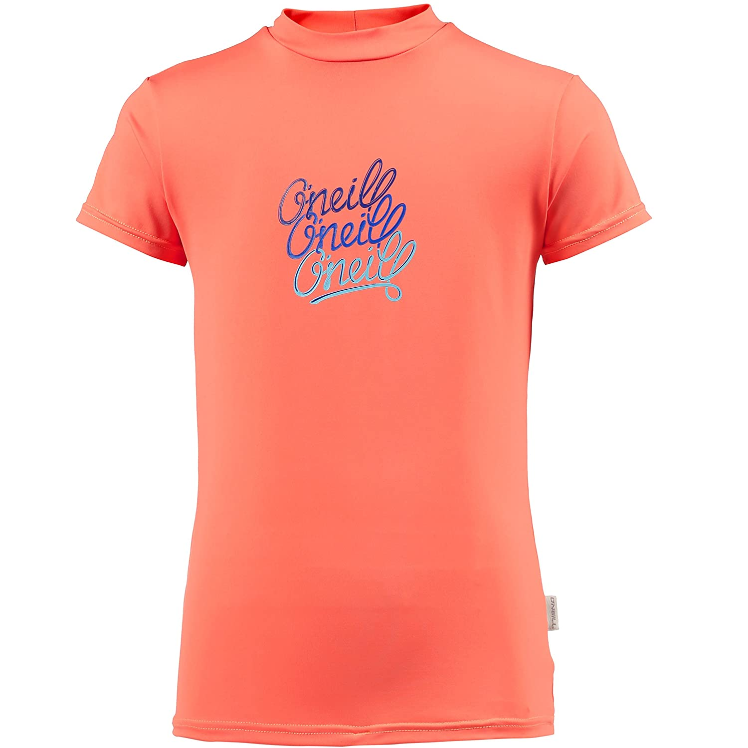 ONeill Youth Kids Junior Girls Short Sleeve Rash T-Shirt Tee T Shirt Top Coral Punch UV Sun Protection and SPF Properties