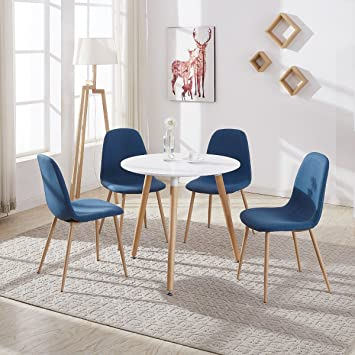 GIZZA Round Dining Table And 4 Chairs With Fabric Shell Seat SolidComfortable White Wood Top