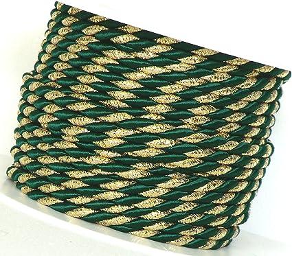 gold moosgrün 4mm Dekokordel Weihnachten 0,37 €//m 4m Kordel Schleifenband