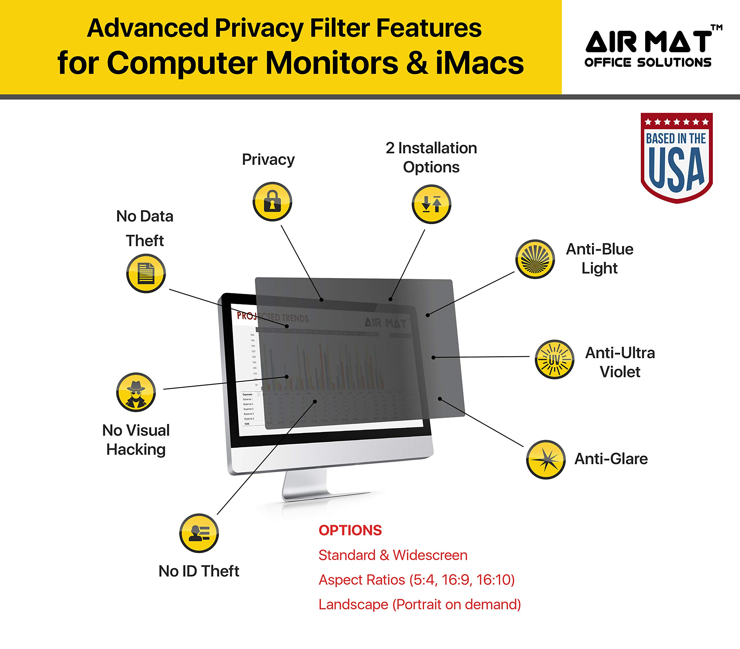 24 Inch Privacy Screen Filter for Widescreen Computer Monitor/LCD (16:10 Aspect Ratio). Original Anti Glare Protector Film for data confidentiality - (24'' W10) - MEASURE SCREEN CAREFULLY by Air Mat (Image #5)