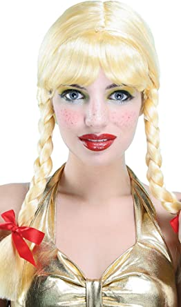 Ladies Fancy Dress Party School Girl Style Pigtail Fake & Artificial Wig Blonde