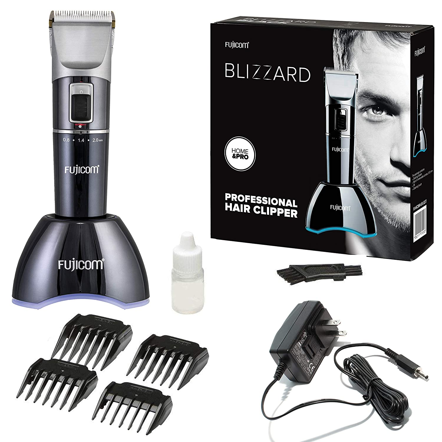 FUJICOM Professional Cordless Hair Clippers for Men – 5 Hours Work-Time – 4 Comb Set 5 Gear Modes – LED Indicator 2 speeds w Turbo Mode – Traveling Grooming Cutting Kit