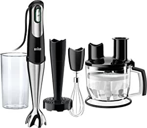 Braun 4-in-1 Immersion Hand Blender, Powerful 400W Stainless Steel Stick Blender, Variable Speed + 6-Cup Food Processor, Masher, Whisk, Beaker, Easy to Clean, MultiQuick MQ777