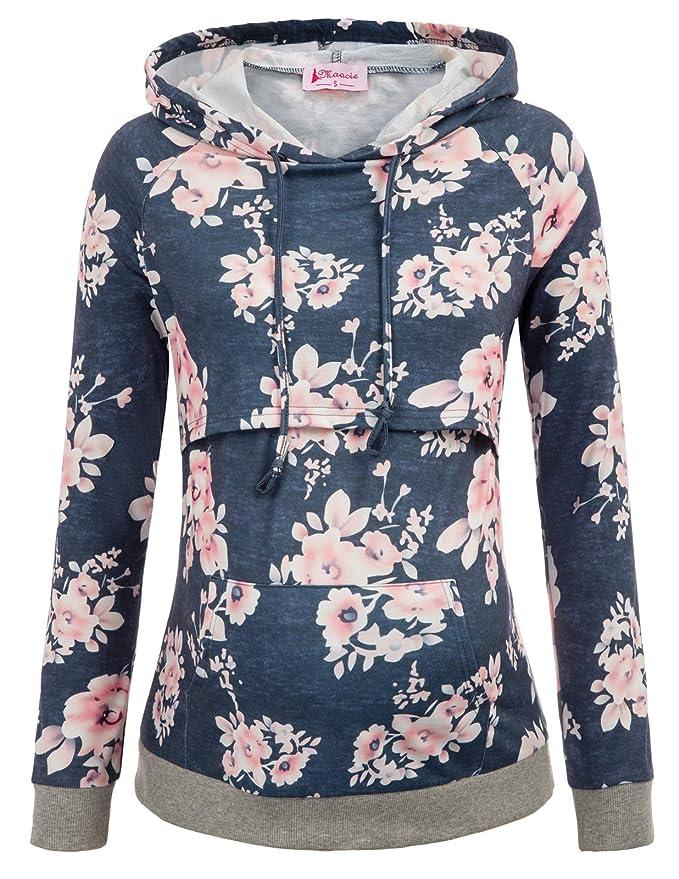 Maacie Elegant Schwangere Umstandskleidung Sweatshirt Langarmshirt Hoodie Stillpullover