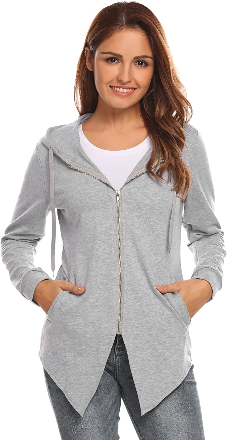 Hotouch Women's Casual Fashion Irregular Hem Hooded Pullover Sweatshirt/Hoodie Jacket
