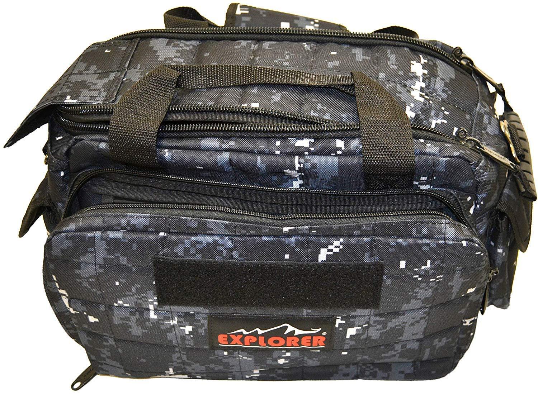 Explorer 8 Pistol Tactical Range Go Bag Assault Gear Hiking EDC Camera Bag MOLLE Modular Deployment Compact Utility Military Surplus Gear (Dark Camo Black Bag) by Explorer