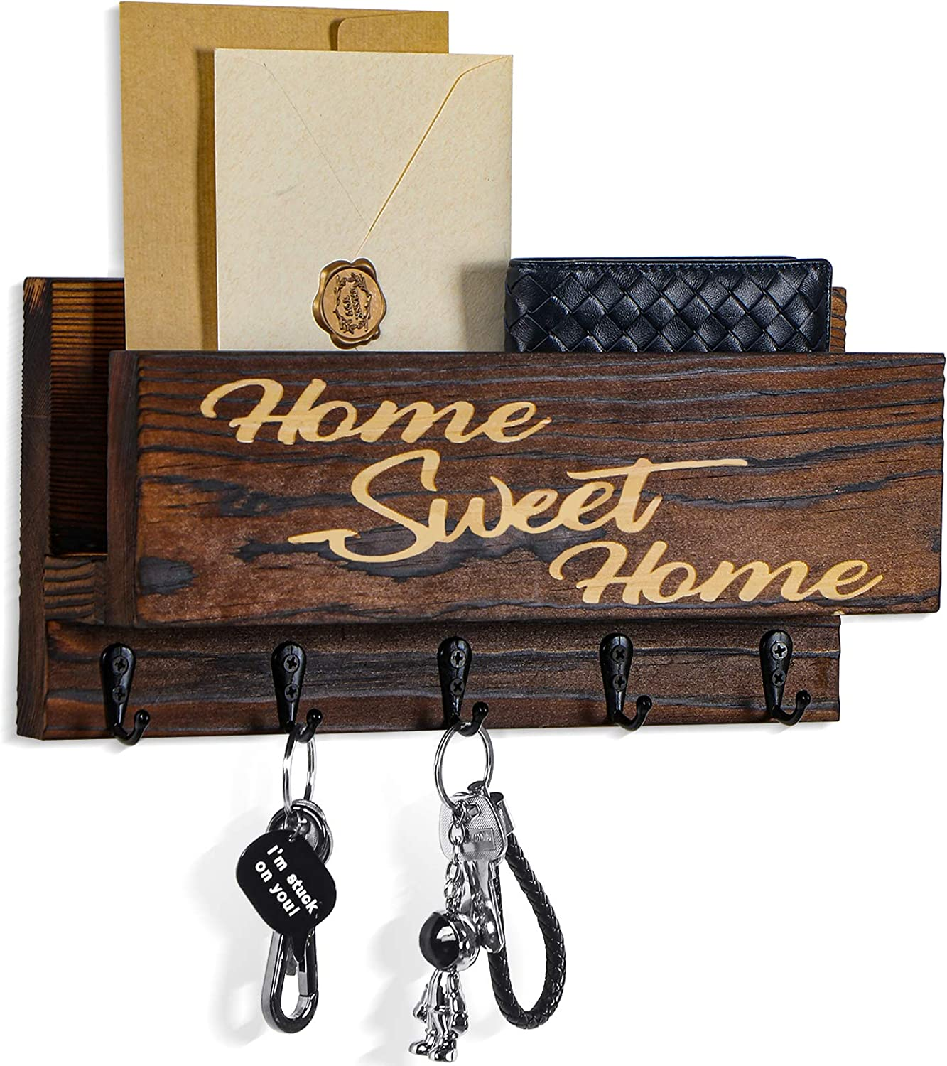 Wooden Key and Mail Holder for Wall Decorative, Rustic Wall Mounted Entryway Organizer with 5 Key Hooks - Perfect Home Hanging Decor for Office, 100% Pine Wood, 11.8