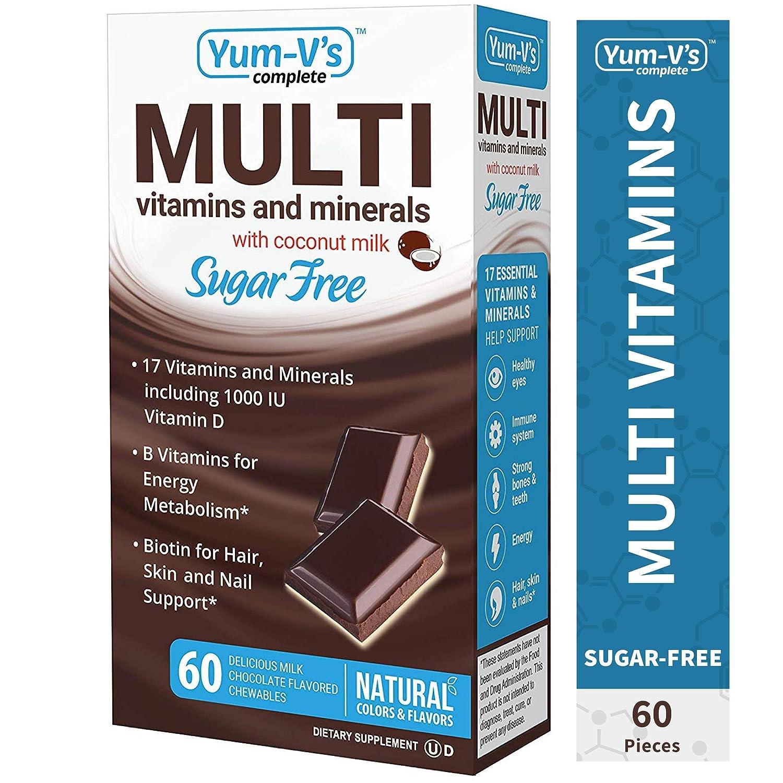 YumVs Complete Sugar-Free MultiVitamin Chewables w/Coconut Milk, Milk Chocolate Flavor (60 Ct); Daily Dietary Supplement with Essential Vitamins & Minerals, Kosher/Halal, Gluten-Free