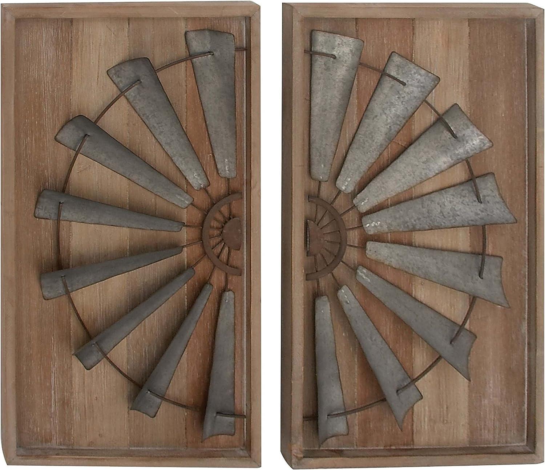 Deco 79 47946 Wood and Metal Wall Panels (Set of 2), Brown/Gray
