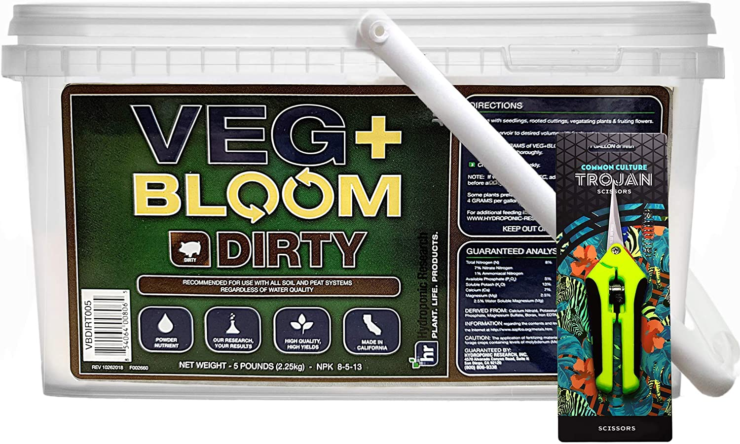 Veg+ Bloom Dirty Formulated Nutrient Powder for Soil and Peat -5lb with Common Culture Trimming Scissors