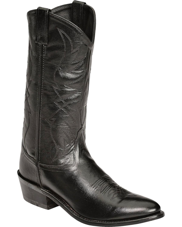 Old West Men's Smooth Leather Cowboy Boot Medium Toe Black 9.5 D(M) US