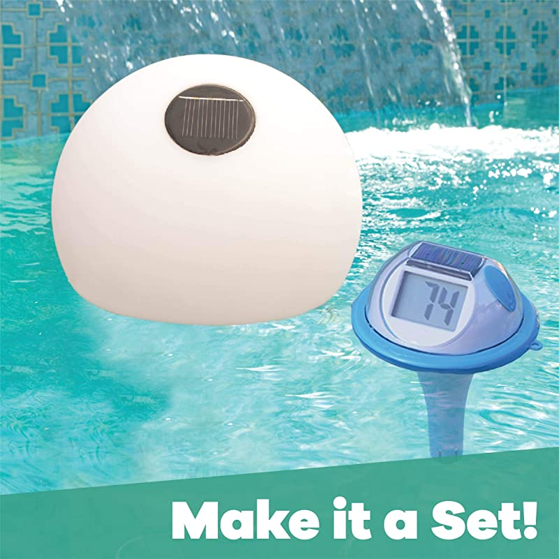 GAME 14030-BB Solar Digital Pool & Spa Thermometer Floating, Solar Powered & Wireless No Batteries Needed, Fahrenheit & Celsius, Double-Sided...