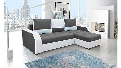 Divano Nero E Bianco : Justhome aris divano angolare divano letto tessuto finta pelle