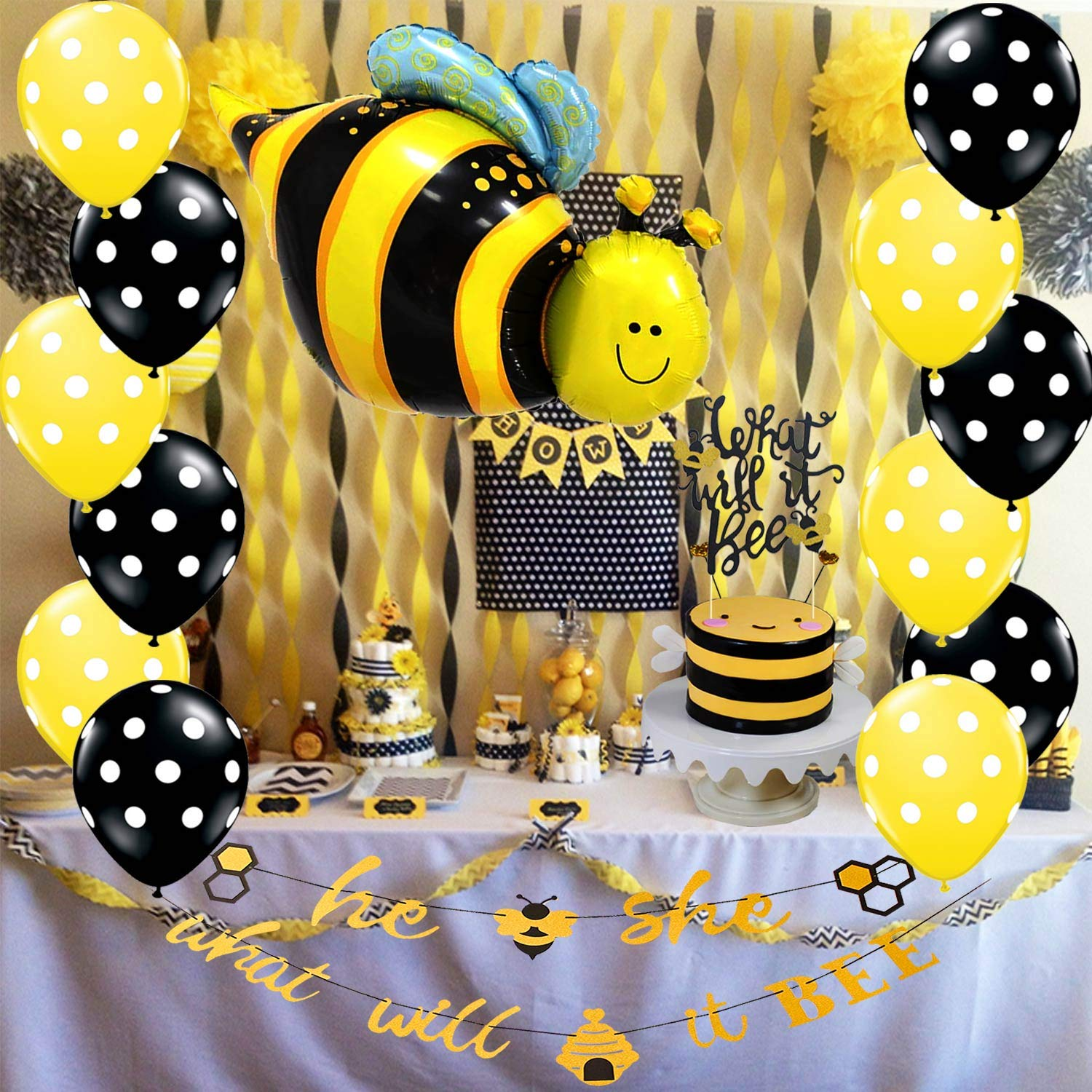 Bee Gender Reveal Banner Baby Shower Decorations Bumble Bee Cake Topper Balloons Kit Supplies