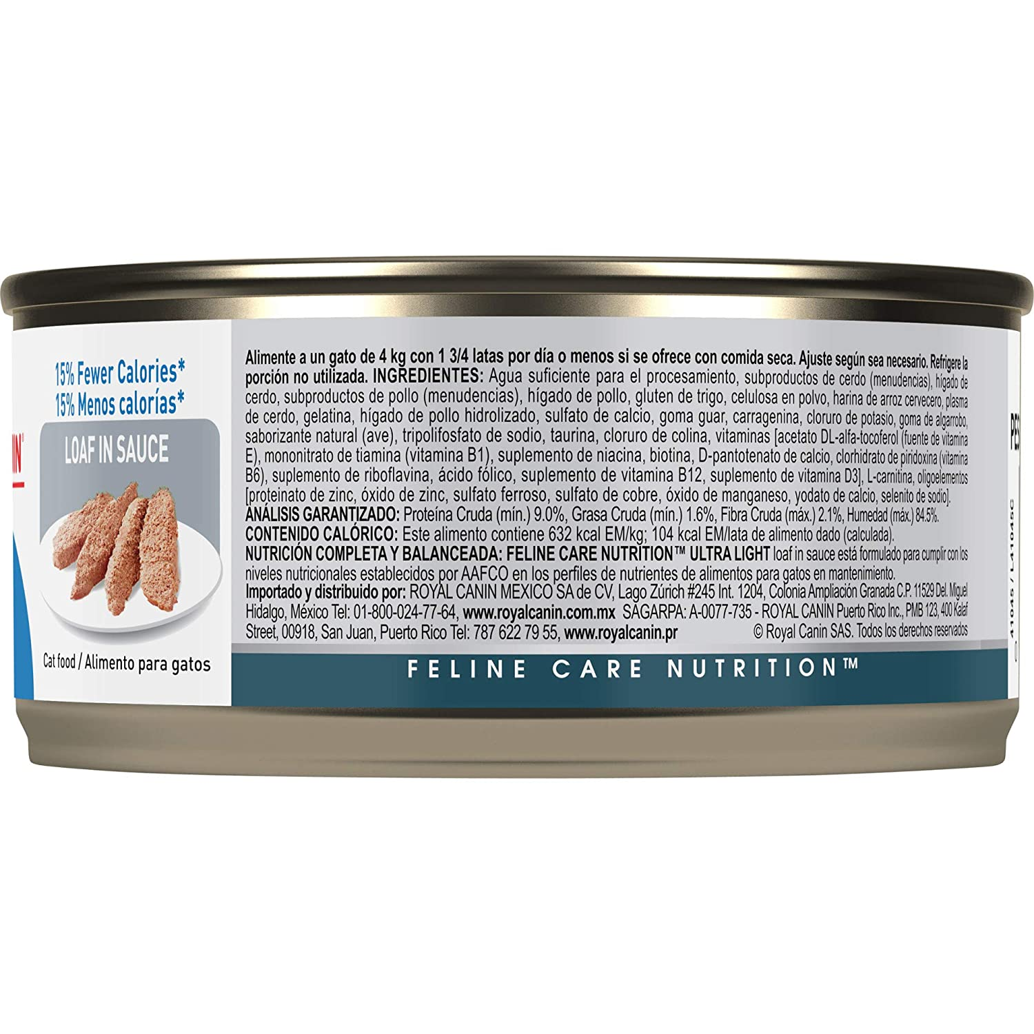 Amazon.com : Royal Canin Feline Health Nutrition Ultra Light 15% Fewer Calories Loaf in Sauce Canned Cat Food, 5.8 Ounce Can (Pack of 24) : Pet Supplies