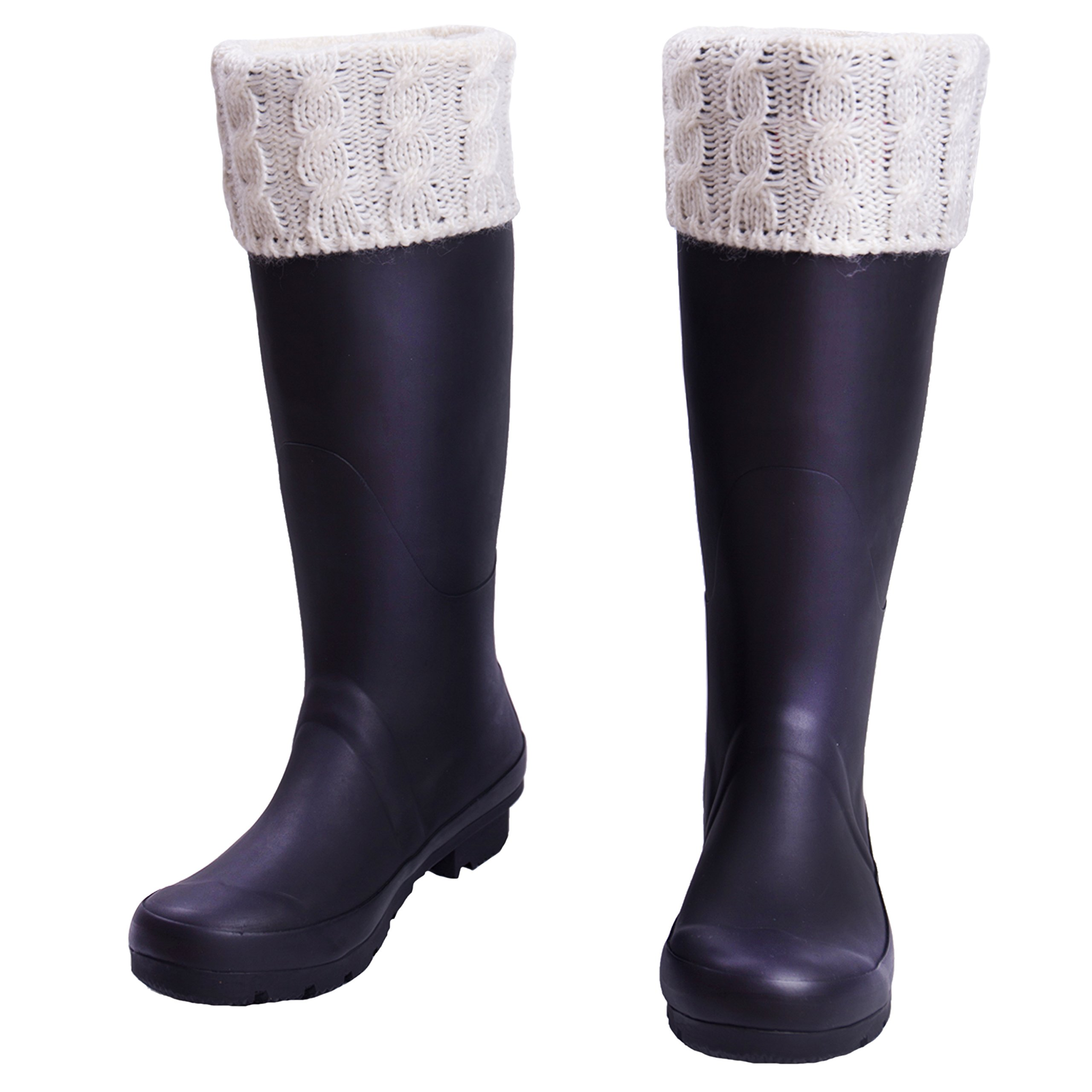 TPLB Women White Knitted Boot Thermal, Insulated & Plush Fleece Socks(L)