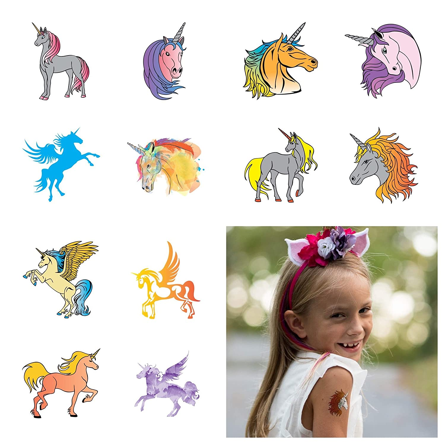 John & Judy 12 Unicorn Temporary Tattoos for Girls | Individually Wrapped Metallic Tattoos | For Unicorn Party Supplies | Goody Bags and Games | Party Favors and Princess Birthdays | Rainbow Unicorn a