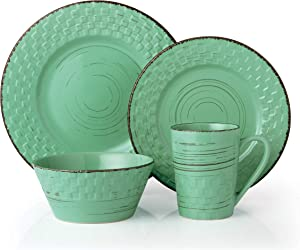 Lorren Home Trends Basket Dinnerware Set, Green