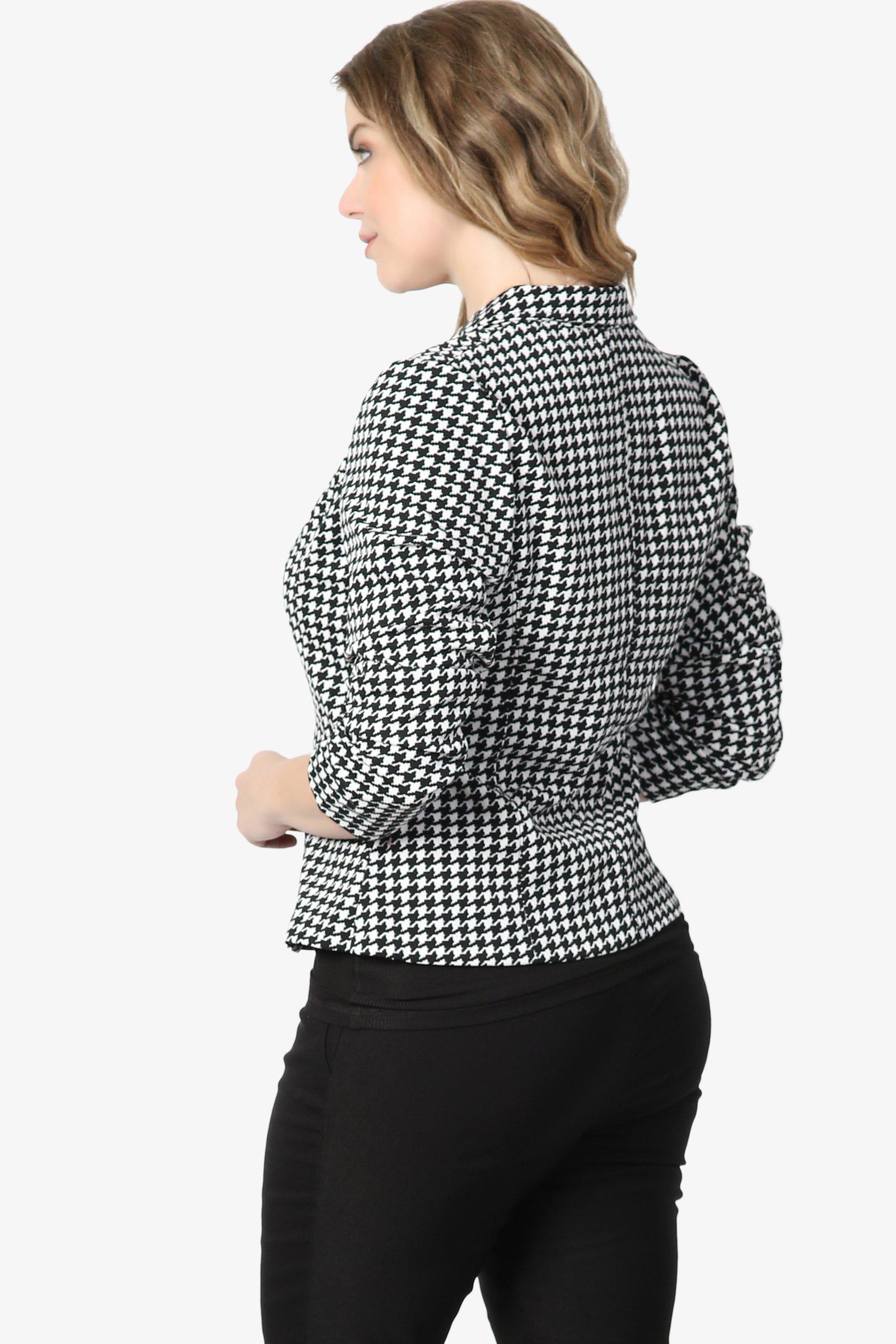 TheMogan Junior's Checker Faux Leather Pocket Slim Fit Blazer Jacket Black 1XL by TheMogan (Image #4)