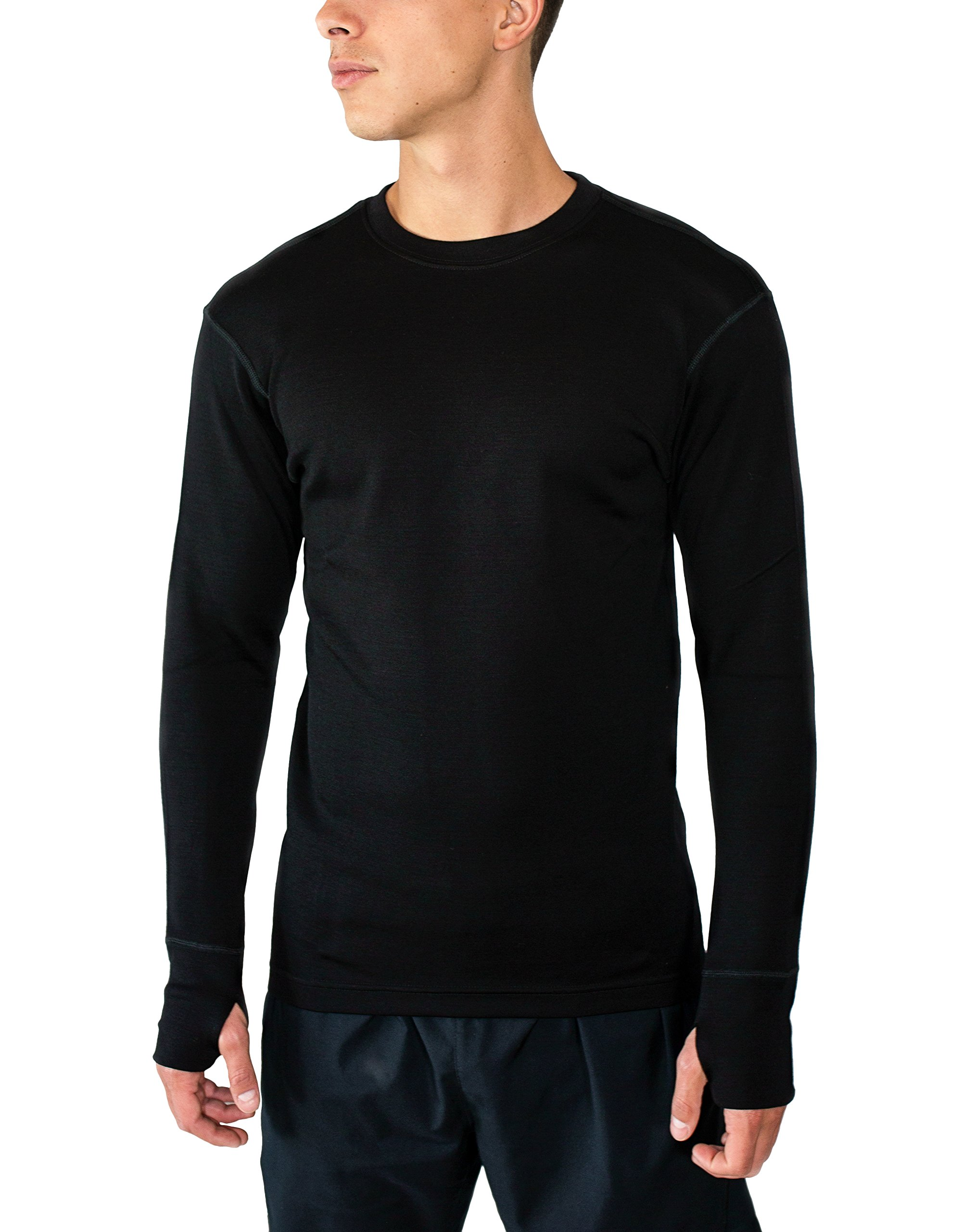 Woolx Glacier - Men's Merino Wool Base Layer Top -  Heavyweight Baselayer Crew Shirt For Extreme Warmth - SML - BLK