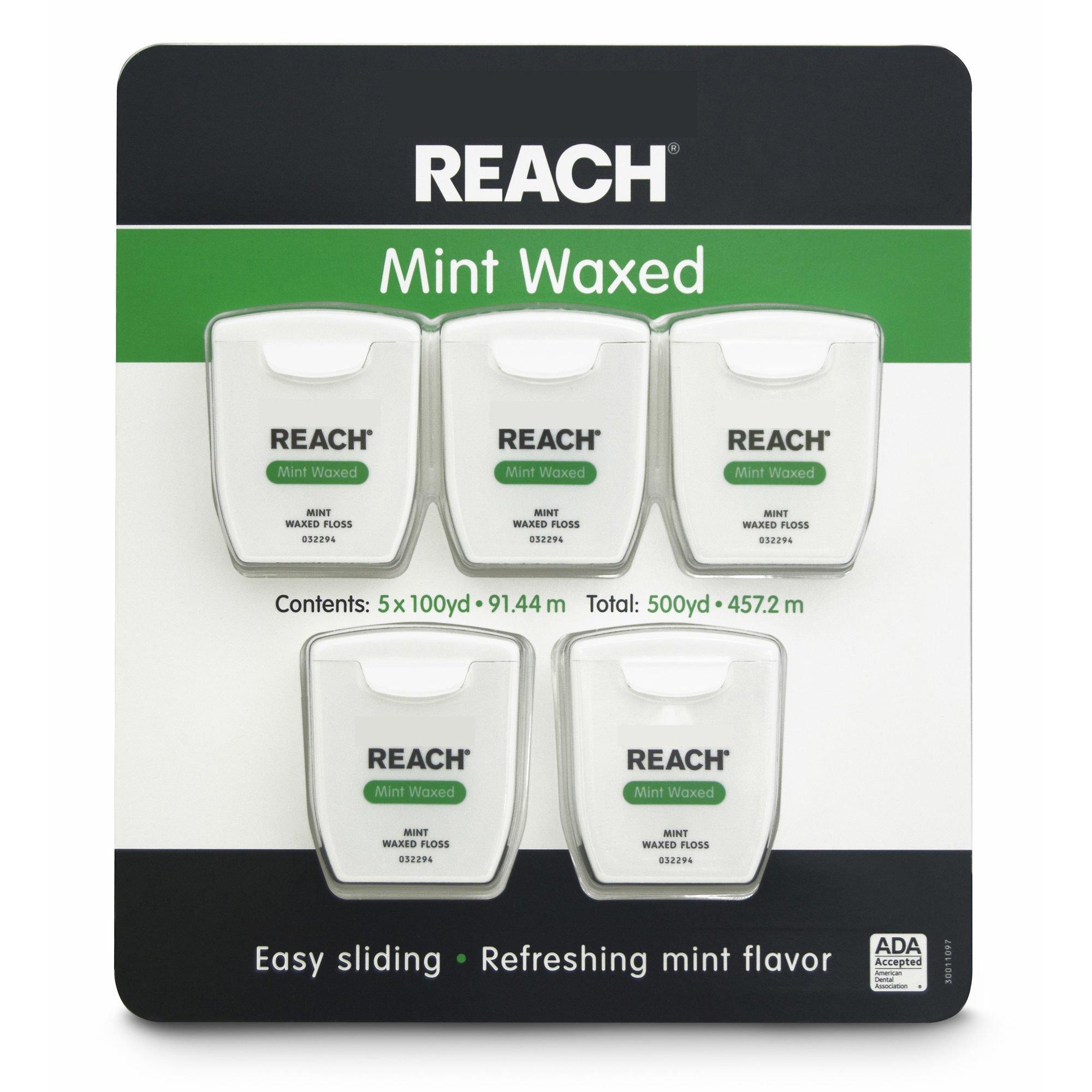 Johnson & Johnson Reach Mint Waxed Dental Floss, 5 Count