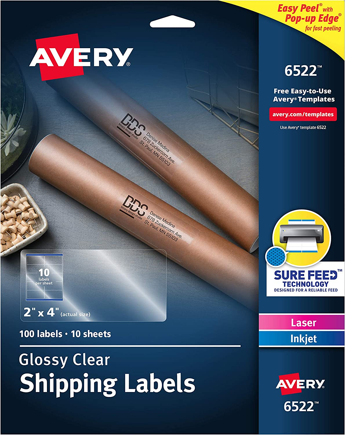 "Avery Crystal Clear Address Labels for Laser & Inkjet Printers, 2"" x 4"", 100 Labels (6522),Glossy White"