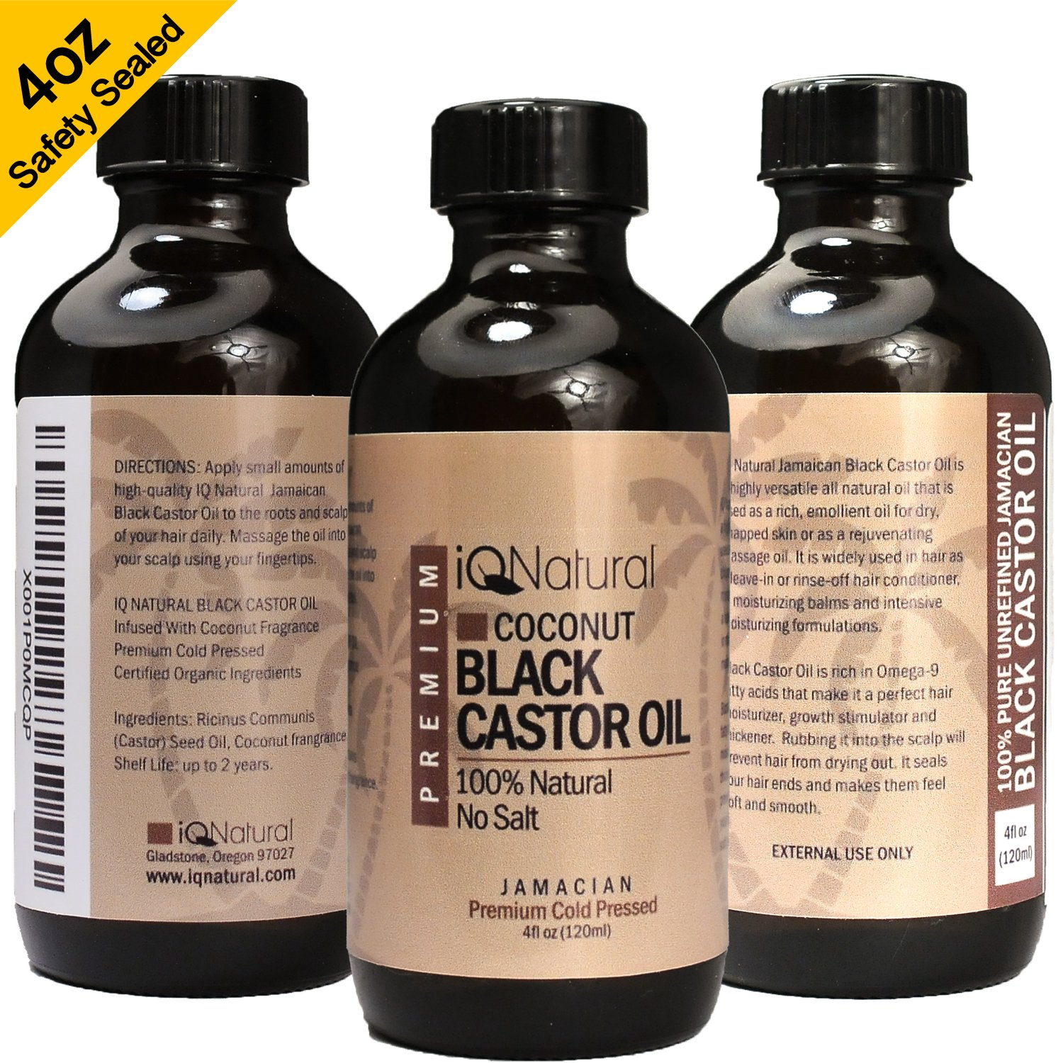 Jamaican Black Castor Oil for Hair Growth and Skin Conditioning - 100% Cold-Pressed by IQ Natural